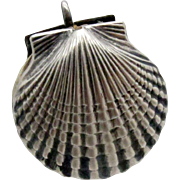 Antique Sterling Sewing Clam Shell Shaped Figural Pin Cushion with Chatelaine Ring