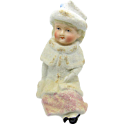 Antique Large Bisque Snowbaby Girl Child, MatchStriker, Match Holder, RARE