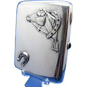 Antique RUSSIAN STERLING Case with Horse's Head, Horseshoe, Jewels, Cigarette or Calling Card Case
