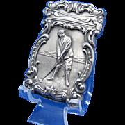 Antique Golfer, Golf Matchsafe, Match Safe, Vesta, Sterling C-1900