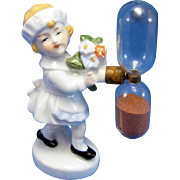 Vintage German, Young Maid with Flowers Egg Timer, C-1910-20