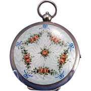 Antique Austrian Figural Sterling and Guilloche Enamel Compact