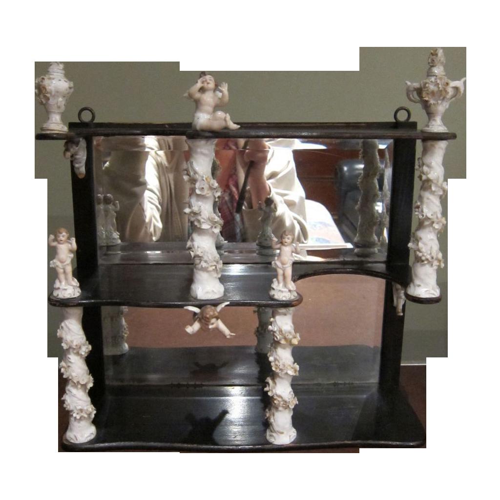 Antique etagere shelf unit porcelain flowers and cherubs wall shelf sold o - Etagere vintage scandinave ...