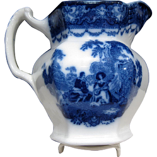 Antique Flow Blue Watteau Pattern PITCHER, Excellent Condition