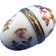 French Sterling and Porcelain Hand Painted Egg Shaped Hinged Box