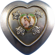 Antique Gorham Company Sterling, Cut Glass and Enamel Art Nouveau Dresser Jar Heart Shaped