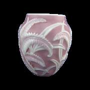 Vintage Consolidated Phoenix Fern Pattern Lavender Glass Vase