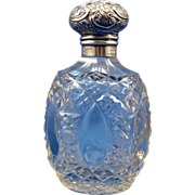 Antique English Perfume Scent Bottle, Sterling Top, Beautiful Design, C-1900