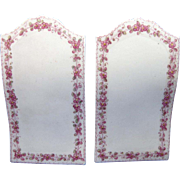 Porcelain Pair of Menus, Pink Floral Decoration, C-1900