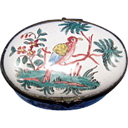 Very Early Small Porcelain Patch Box with Bird Decoration C-1850-1880