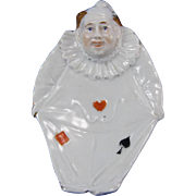Vintage Porcelain Austrian Clown Dish with Playing Cards Accents