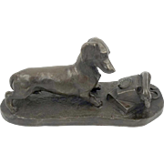 Heredities Bronze Dachshund with Telephone