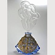 Czech Figural Stopper Blue Filigree Base Perfume Bottle