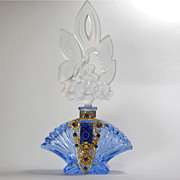 Czech Blue Jeweled Perfume Bottle Butterfly Stopper