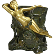 French Bronze Art Nouveau Vase Jean Garnier c.1895
