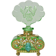 Green Czech Jeweled Perfume Bottle with Lovebirds Stopper