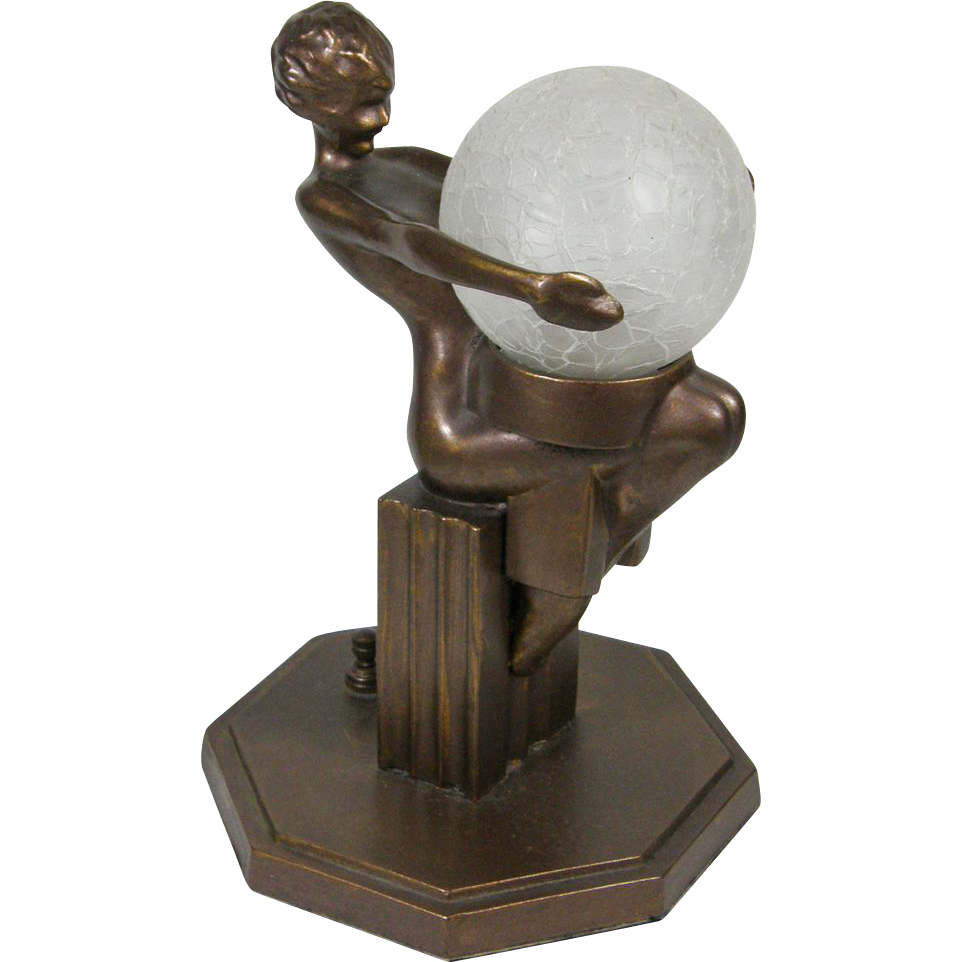 Frankart Art Deco Sitting Nude Table Lamp 1930s From