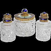Austrian Jeweled 3pc Cut Glass Perfume Bottles & Powder Box