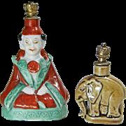 Two German Porcelain Crown Top Perfume Bottles