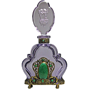 Czech Jeweled Amethyst Perfume Bottle Large Green Malachite Stone