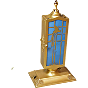 DeVilbiss Blue with Gold Parrots Perfume Lamp