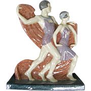Marcel Guillard & Granger Art Deco Ceramic Sculpture for Etling