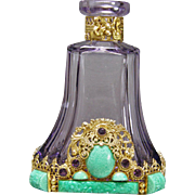 1930s Czech Amethyst Neiger Jeweled Perfume Bottle