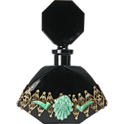 Czech All Black Jeweled Perfume Bottle