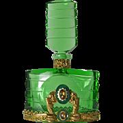Emerald Green Czech Jeweled Perfume Bottle