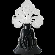 Czechoslovakian  Art Deco Black & Crystal Perfume Bottle 1930s
