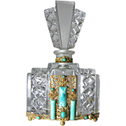 Large Jeweled Czech Cut Glass Perfume Bottle
