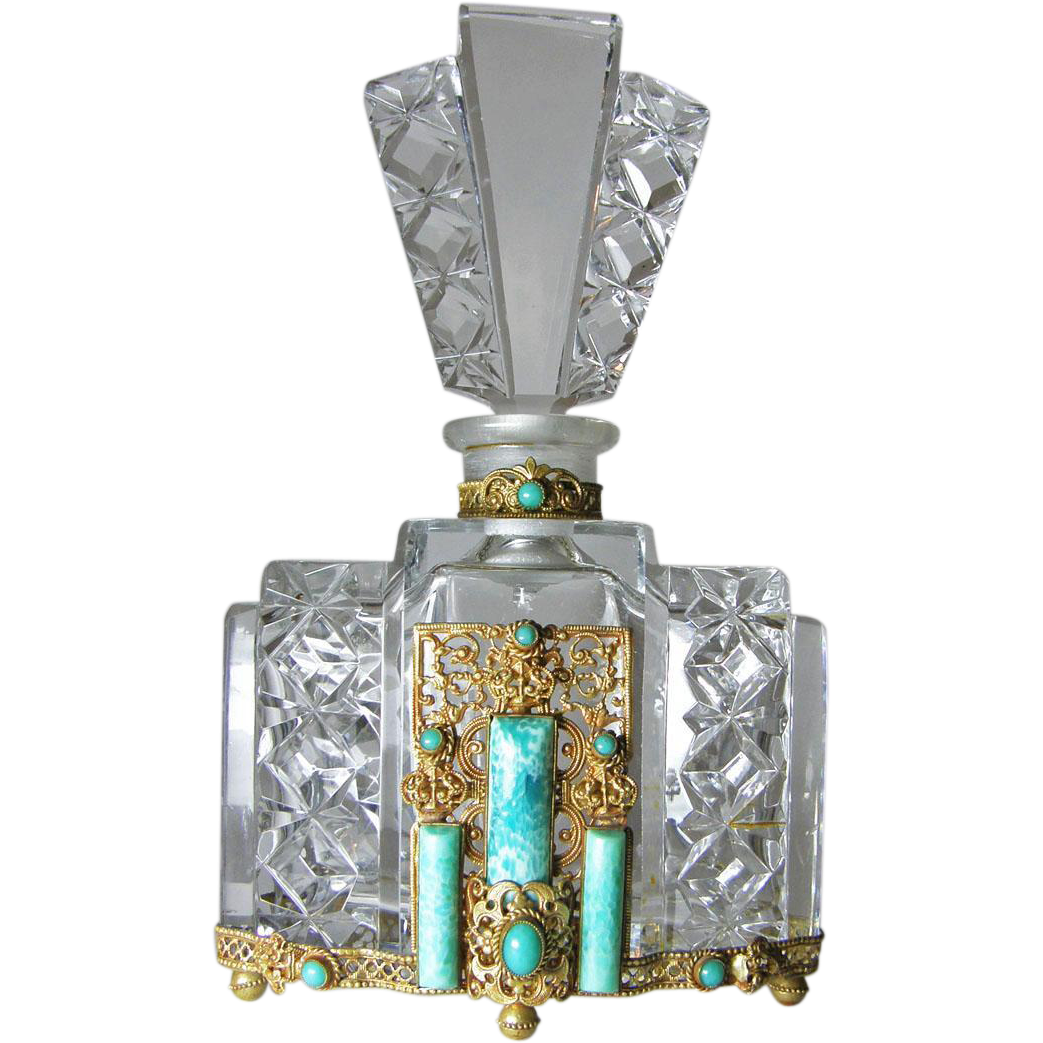 Large jeweled czech cut glass perfume bottle from for How do i cut glass bottles