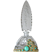 Tall Jeweled Czech Cut Glass Perfume Bottle