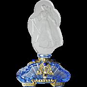 Czech Blue Jeweled Perfume Bottle Figural Stopper