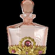 Pink Austrian Jeweled Perfume Bottle