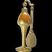 1926 DeVilbiss Gold & Orange Perfume Atomizer Bottle