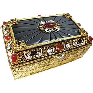 Austrian Jeweled Bronze Dresser Box