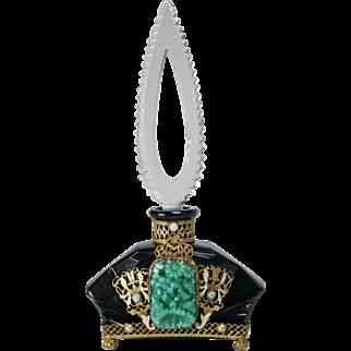 Czech Jeweled Black Base Perfume Bottle