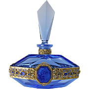 Royal Blue Czech Jeweled Perfume Bottle