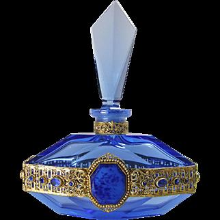 Royal Blue Czech Jeweled Perfume Bottle