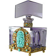 Amethyst Jeweled Czech Perfume Bottle