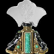 Large Jeweled Black Czech Cut Glass Perfume Bottle