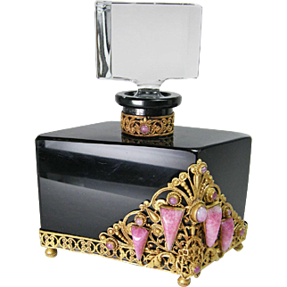 Czech Large Black Pink Jeweled Perfume Bottle