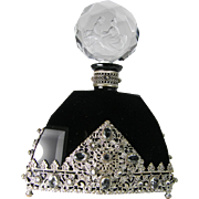 Large Black Glass Jeweled Czech Perfume Bottle