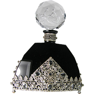 Large Black Glass Jeweled Czech Perfume Bottle