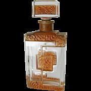 Czech Crystal & Enamel Art Deco Perfume Bottle