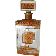 Czech Crystal & Enamel Art Deco Perfume Bottle