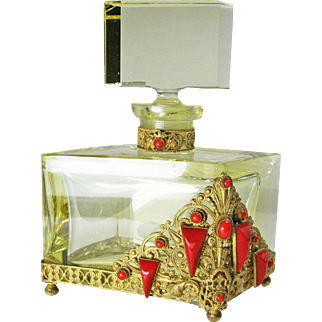 Yellow Bottle with Red Jeweling Czech Perfume