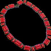 Art Deco Red Geometric Czech Glass Necklace