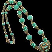 Neiger Czech Malachite Glass Necklace